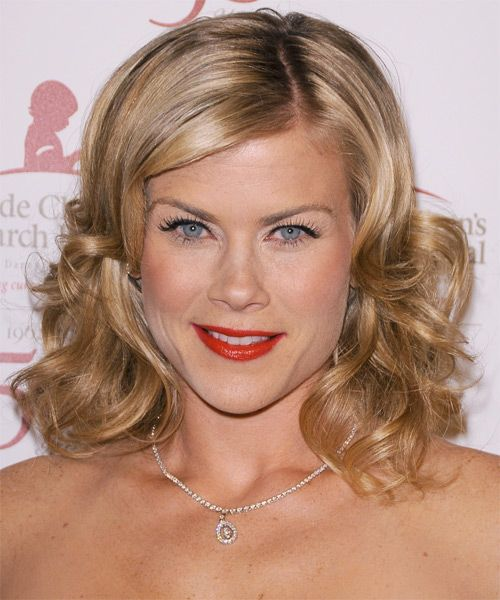 Alison Sweeney Medium Wavy Formal Hairstyle – Dark Blonde Hair Color with Light Blonde Highlights