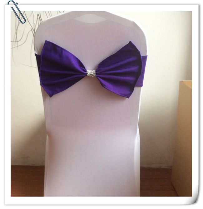 Hot Sale !! Hot Sale !! 100pcs Purple Wedding Banquet Chair Sash Bow Sashes Cover FREE SHIPPING