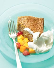 Like a genoise, this cake gets its spongy texture from eggs that are whisked until thick and voluminous.