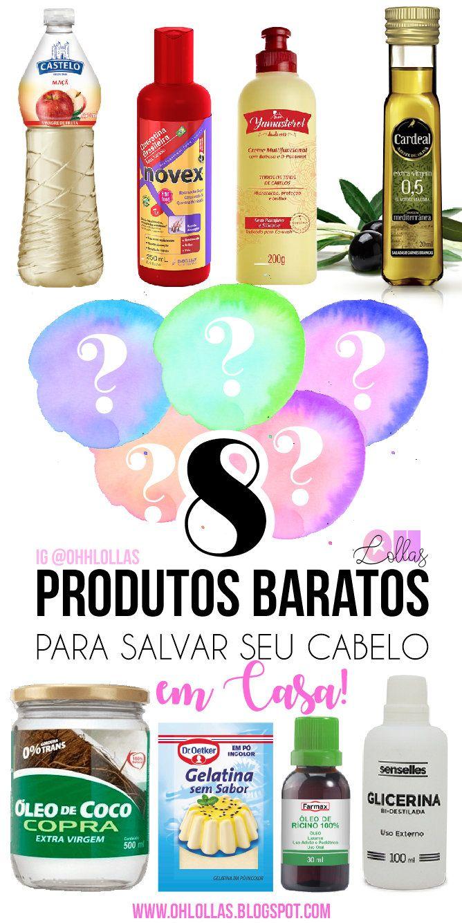 Top 8 produtos baratos para salvar seu cabelo em casa. Cronograma capilar com receitas caseiras econômicas.