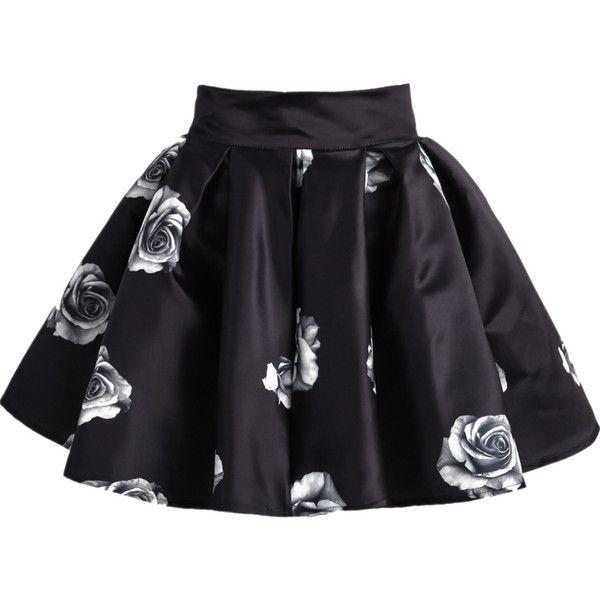 Black Rose Print Flare Skirt featuring polyvore, fashion, clothing, skirts, black, flare skirt, black circle skirt, circle skirt, floral print skater skirt and short skirts