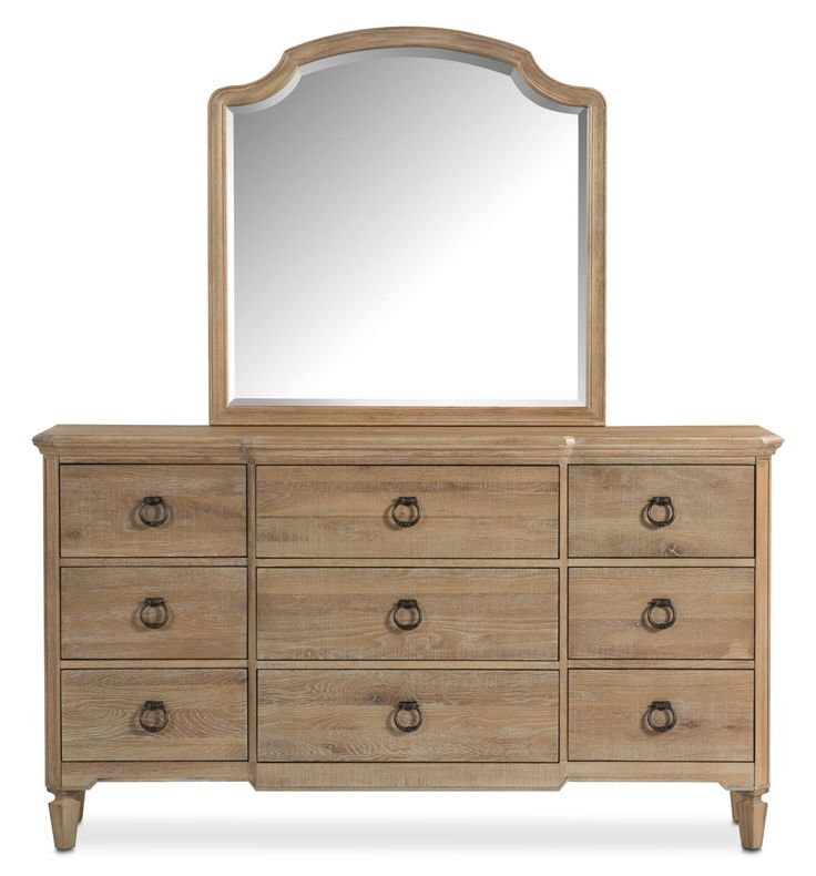 Country Cottage. Embrace the rustic beauty of the Regents Park dresser and mirror, with its elegant curves, vintage-style hardware and charming distressed oak wood. The dresser offers ample space for clothing, bedding and other essentials, while the mirror's beveled glass adds subtle style to prepping in the morning or evening. Customer assembly required.
