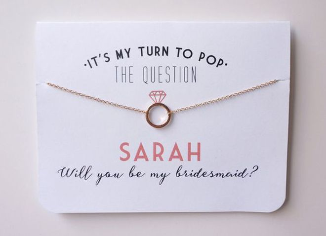 """10 Awesome Ways To """"Pop"""" The Question To Your Bridesmaids @sturquoiseblog Image + Item courtesy of: Petal & Paperie via Etsy"""