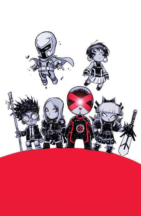Eva gets a baby version in this variant cover for Uncanny X-Men #01 by Skottie Young