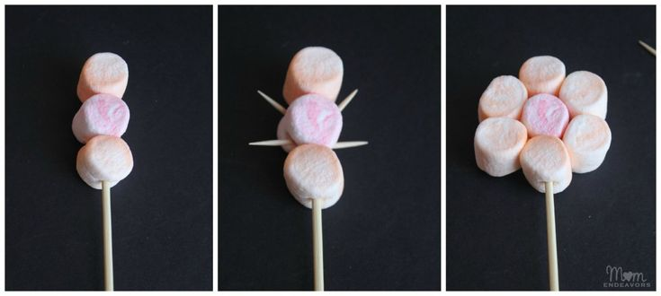 Making Marshmallow Flowers. Make an edible centerpiece or can put in treat bags to hand out.