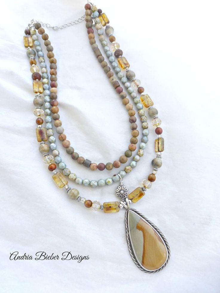 Fine silver pendant oval shape Jasper gemstone. Sterling silver jewelry. Stone, Czech glass, beaded necklace.