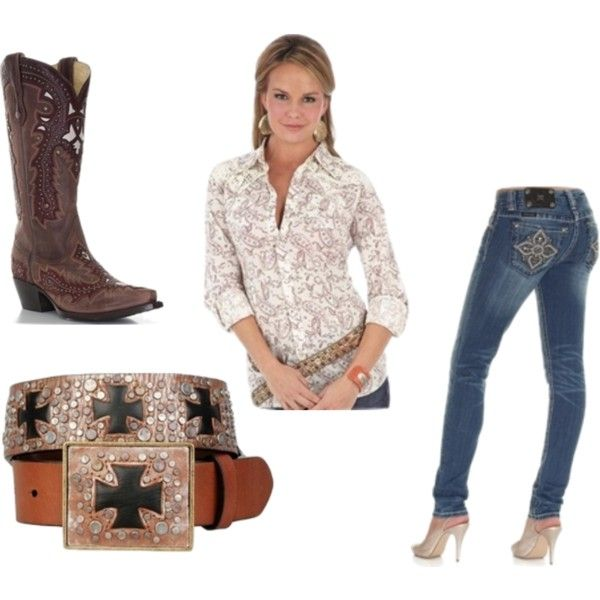 """""""Country"""" by chatty-marie on Polyvore.  Check out langstons.com..  I love the boots, and complete outfit.."""