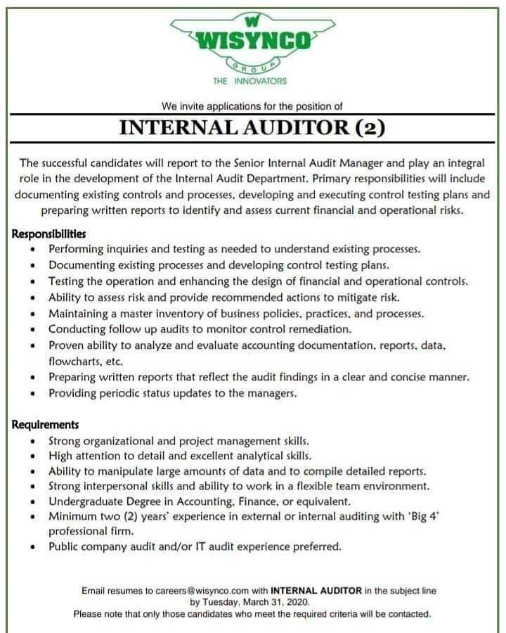 Internal Auditors Needed Wisynco In 2020 Internal Audit Auditor Positivity