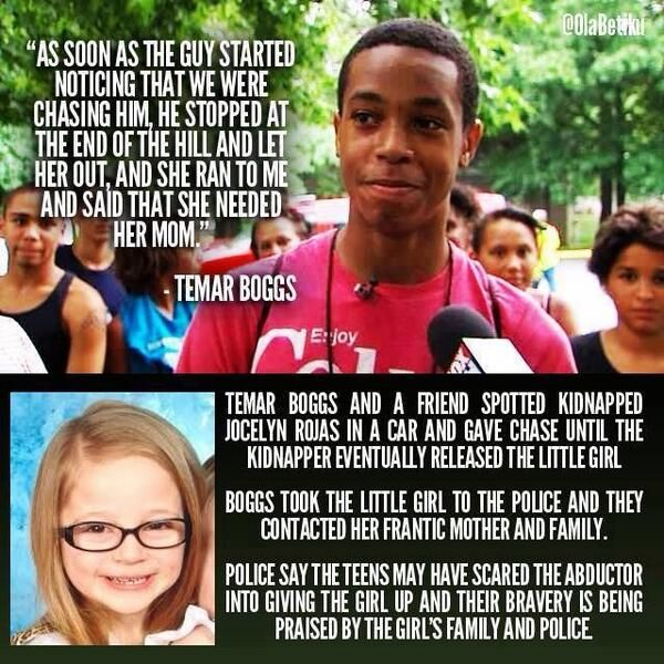 To me this young man is a hero. He was extremely brave to chase after the kidnapper and bravery is one of the characteristics of a hero. He might not have saved the world but he did save that little girls life and innocence. He also saved the family from the unbarring pain of not knowing what happened to their little girl.
