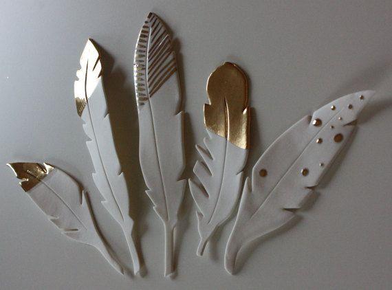 5 Potöpot Federn aus Porzellan Keramit mit Gold von bonbonsetc
