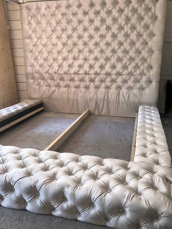 Velvet Diamond Tufted Oversized King Bed Etsy In 2020 Tufted