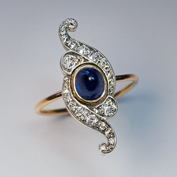 Belle Epoque Antique Cabochon Sapphire Diamond Scroll Ring - Antique Jewelry | Vintage Rings | Faberge Eggs