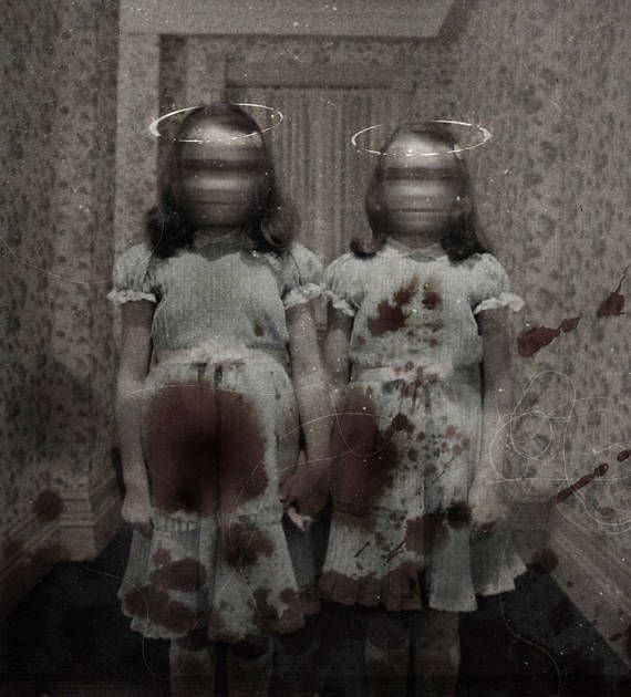 Those Twins from The Shining...the ones that were in many a nightmare...well, this is my version of them. A photo-manipulation the way I saw them in a nightmare. Bloody, blurry, and strangely wearing halos. Such deceit! The print is 10x13 printed professionally on the highest quality photo paper. It is sure to be a conversation piece. I have one available, signed and dated by me on the back.