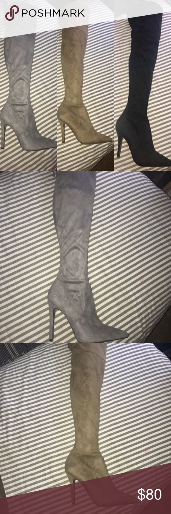 Aldo/Guess Thigh High Boots $50- Brown Aldo Thigh high boots. Size 8 1/2 Only worn once, like new condition                                          $60- Black Aldo Thigh high boots, NEVER USED Size 9 $60- Grey Guess Thigh high boots. Size 9, NEVER USED. Aldo Shoes Heeled Boots