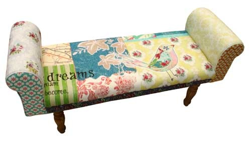 It consists of a wooden bottom and legs, cushioned armrests and a fun and quirky mix of fabrics from florals on the armrests to stripes on the seat.