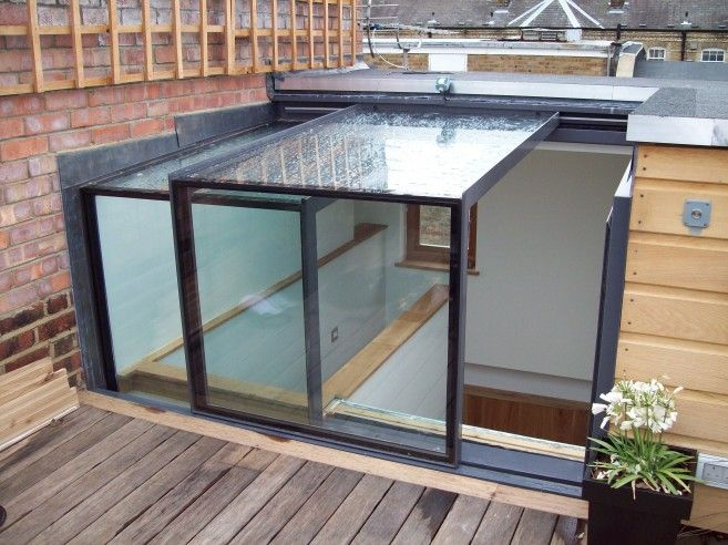 Sliding box roofligh: excellent to convert roof terraces into roof top gardens,