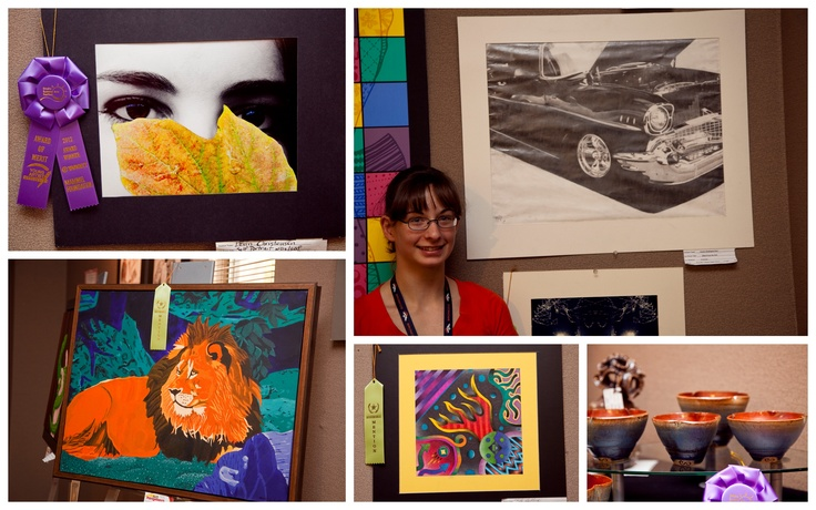 Some of the award-winning work in the Young Artists Exhibit at the 2012 Omaha Summer Arts Festival