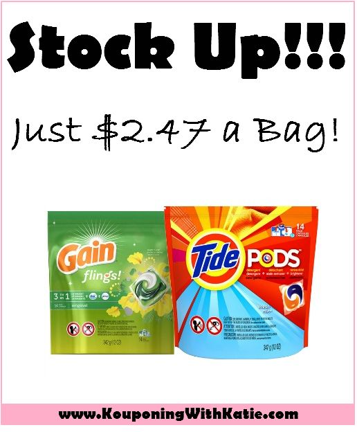 STOCK UP On Tide Pods or Gain Flings, Just $2.47 a Bag at Walmart!!! | KouponingWithKatie