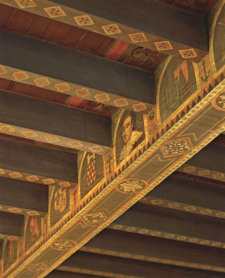 Painted ceiling of a Beverly Hills home designed by Wallace Neff. Beams pained by Richard Wyatt, who also painted the mural at Union Station in Downtown Los Angeles.
