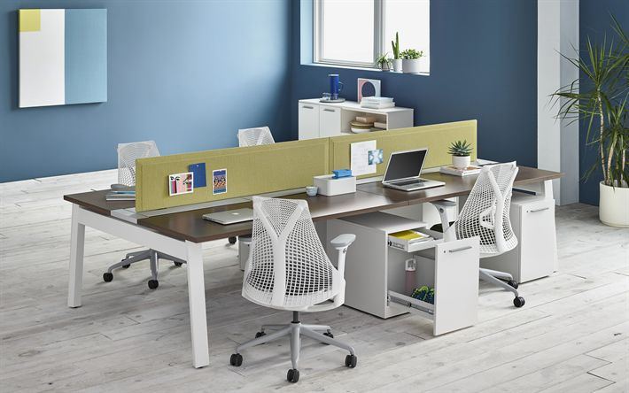 Download wallpapers blue office, tables, 4k, stylish interior, office, modern design, interior idea