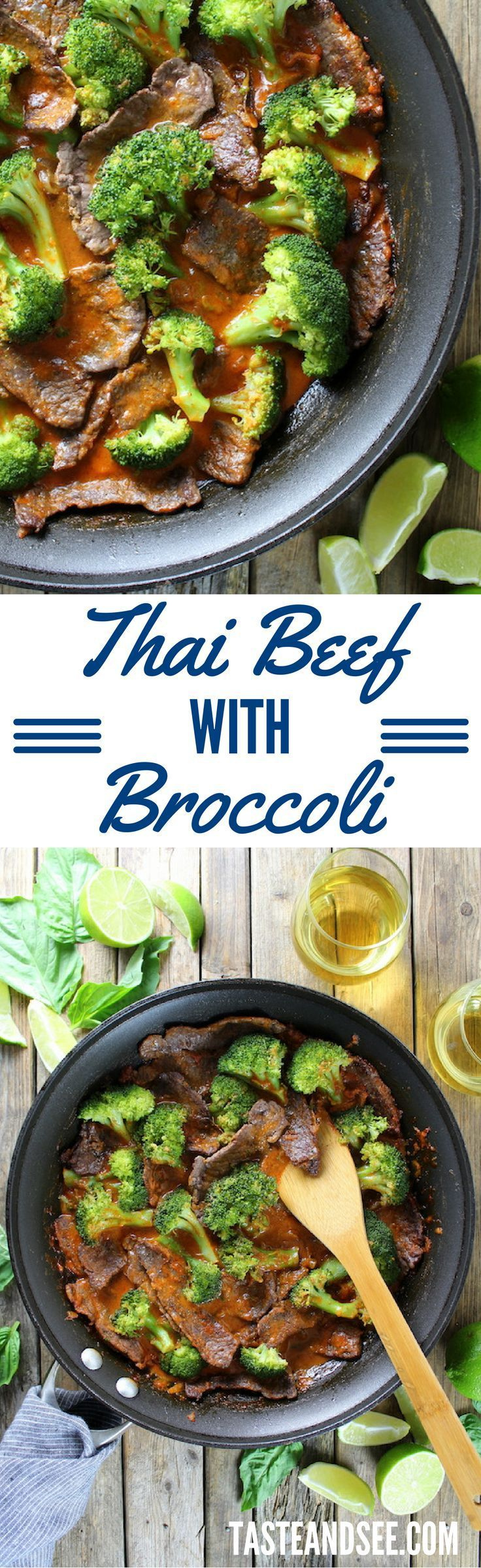 Thai Beef with Broccoli - With coconut milk, red curry paste, shallots, brown sugar, fish sauce, broccoli and beef.  http://tasteandsee.com
