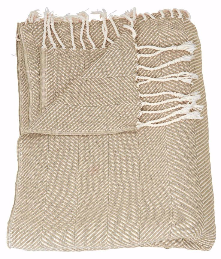 Mina Victory Throw Organic Cotton Throw Beige Throw Blanket