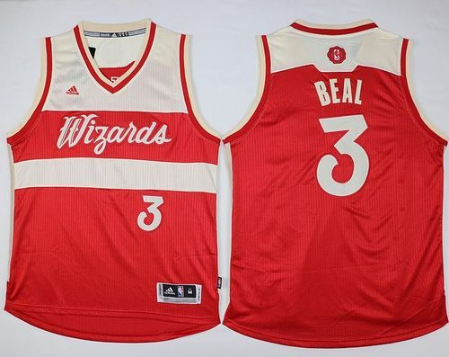 online store acaa0 c5fac Wizards #3 Bradley Beal Red 2015-2016 Christmas Day Stitched ...