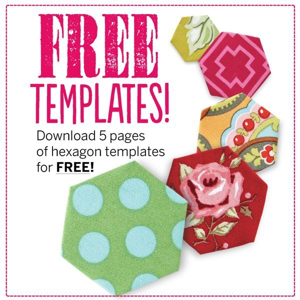 Free Hexagon template pdf download - 5 sizes @ Love Patchwork & Quilting #Hexagon #Hexie #EPP