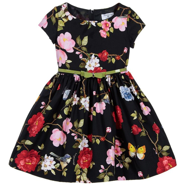 Monnalisa Bimba - Girls Blue Cotton Floral Dress | Childrensalon