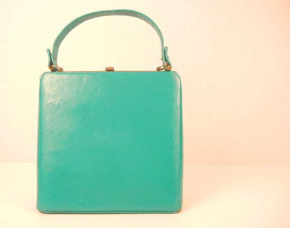 Vintage 1950s Handbag / Turquoise Leather Purse