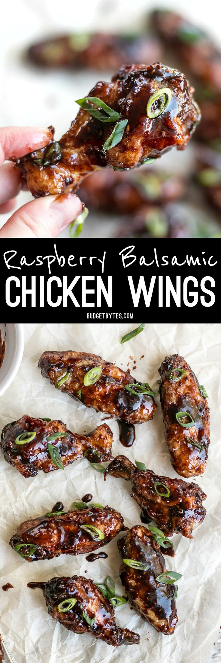 These crispy Raspberry Balsamic Baked Chicken Wings are baked, not fried, and slathered in a sweet, tangy, and rich homemade sauce. BudgetBytes.com