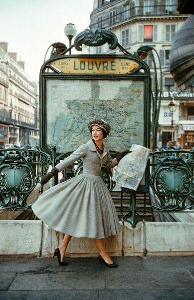 Christian Dior - 1957 - Paris Louvre Metro Station - Photo by Mark Shaw - A Bright Young Look in Paris - LIFE magazine - (Métro Louvre Rivoli in Paris, Built: 1900, Architect Hector Guimard, Art Nouveau) - https://www.1stdibs.com/art/photography/color-photography/mark-shaw-grey-dior-outside-paris-louvre-metro/id-a_84572/