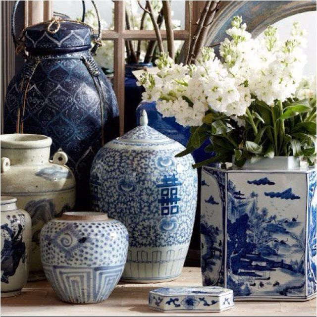 Blue and white china table vignette                                                                                                                                                      More
