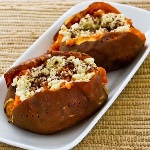 Twice-Baked Sweet Potatoes with Feta and SumacHealth Food, Side Dishes, Baked Sweet Potatoes, Thanksgiving Side, Potatoes Recipe, Kalyns Kitchen, Twice Bak Sweets, Baking Sweets, Sweets Potatoes