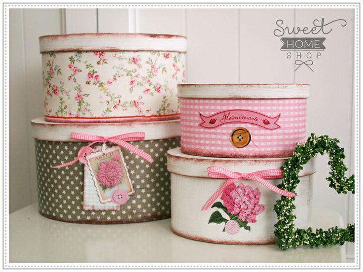 Shabby Boxen-Set ❧ HYDRANGEA ❧ Handarbeit! von The Sweet Home Shop auf DaWanda.com