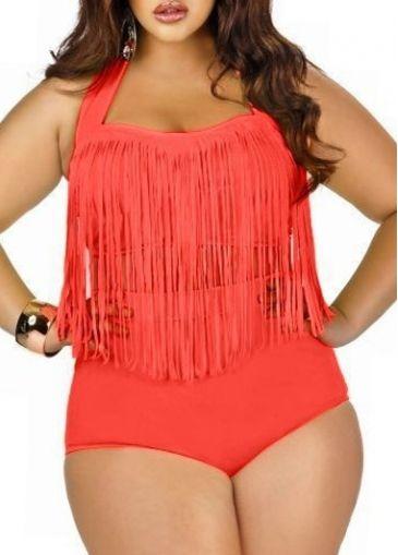 Orange Halter Oversized Two Piece Swimwear on sale only US$23.06 now, buy cheap Orange Halter Oversized Two Piece Swimwear at modlily.com