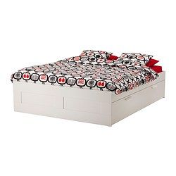 "BRIMNES bed frame with storage, white Length: 81 7/8 "" Width: 62 1/4 "" Height: 18 1/2 "" Length: 208 cm Width: 158 cm Height: 47 cm"