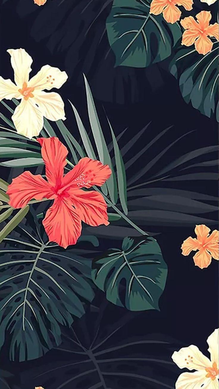 Tropical Summer Flower Floral Flowery Wallpaper Wallpaper Iphone Summer Iphone Wallpaper Vintage
