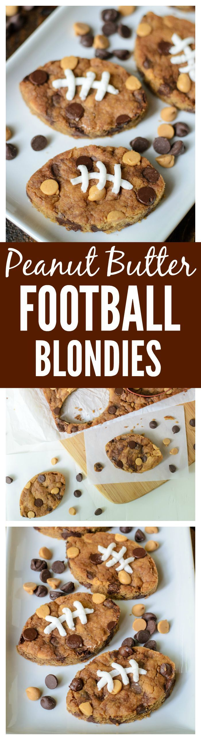 Peanut Butter Football Blondies with Chocolate Chips. Soft, chewy and so cute for football parties and tailgates. Pinning this for the super bowl too!