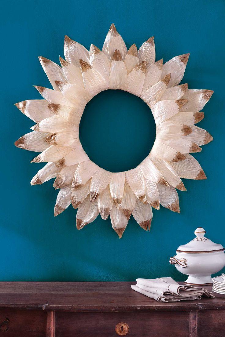 Gold-Dipped Corn Husk Wreath