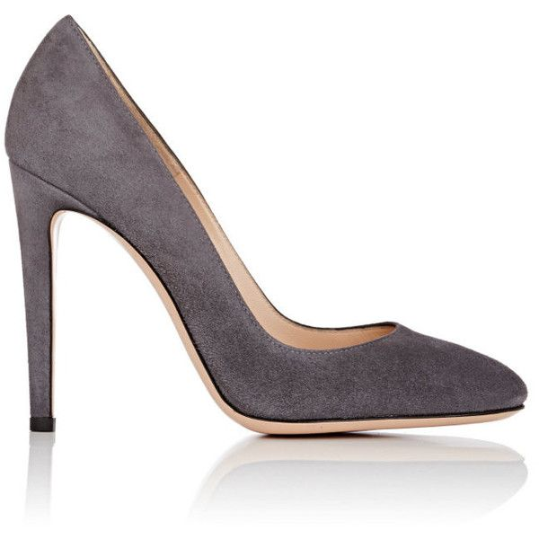 Gianvito Rossi Women's Roma Pumps (€255) ❤ liked on Polyvore featuring shoes, pumps, round toe pumps, high heeled footwear, dark grey pumps, gianvito rossi pumps and slip-on shoes