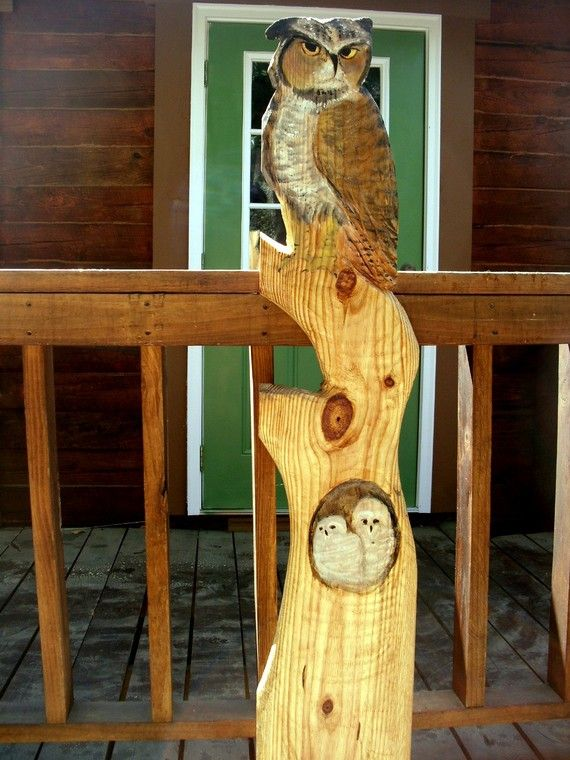 Owls in tree ft chainsaw wood carving great horned owl