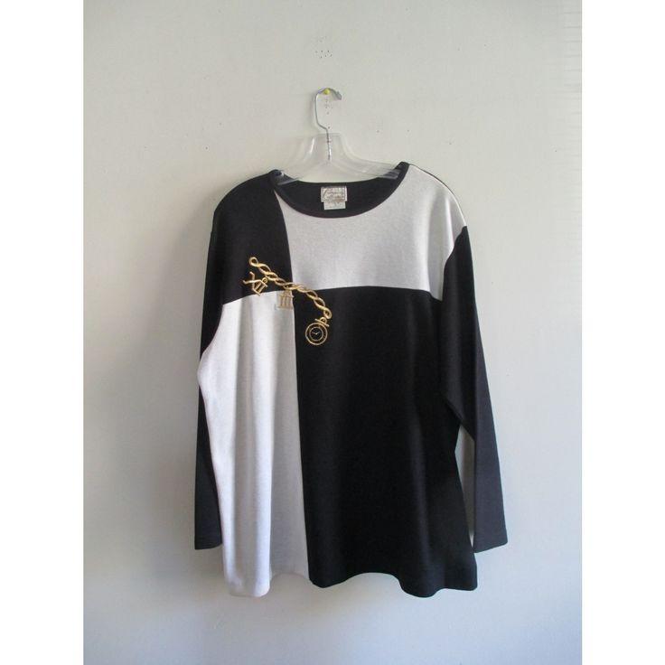 Vintage Company Collection Black White Gold Chain Watch Roman Numerals Geometric Colorblock Print Sweater Sz Xl