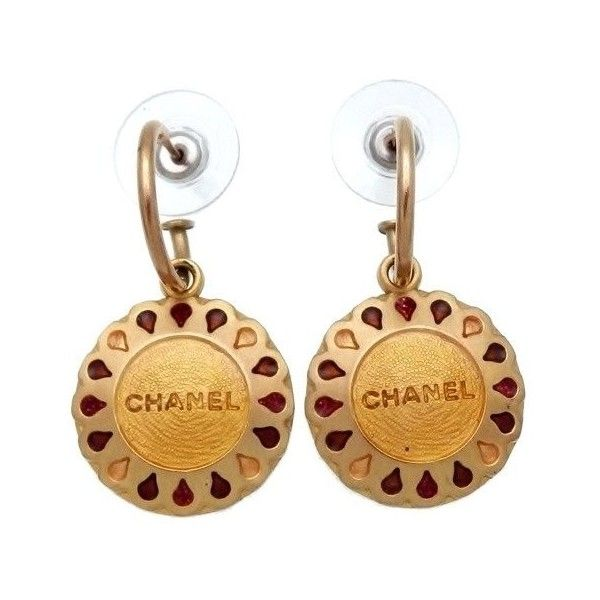 Pre-owned Chanel Logo Gold Tone Metal Round Dangle Stud Earrings (1.850 DKK) ❤ liked on Polyvore featuring jewelry, earrings, chanel, dangling jewelry, gold tone earrings, chanel jewellery and logo earrings