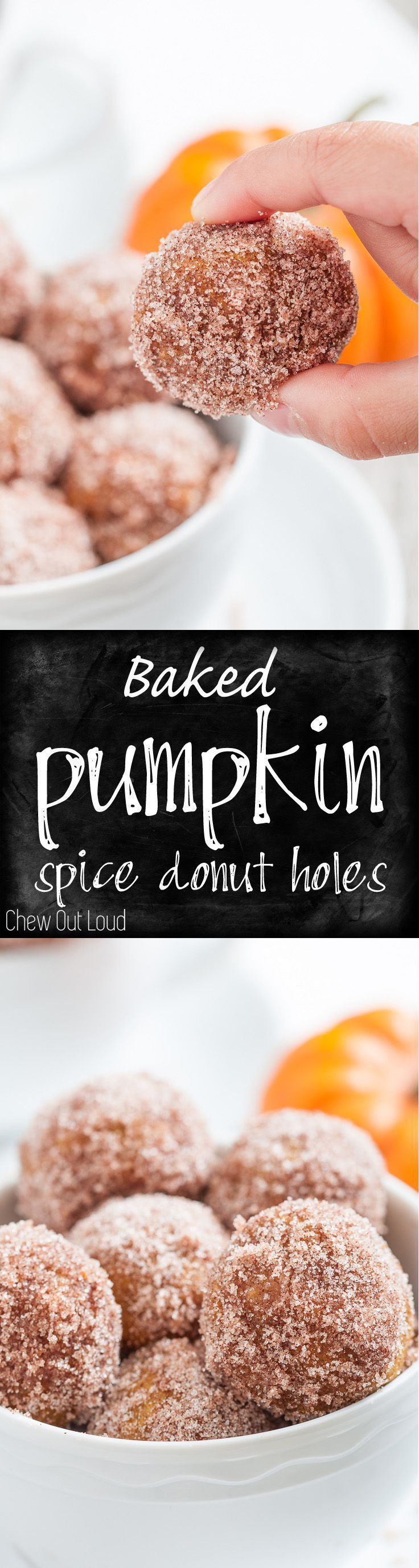 The perfect fall fun treat! Delicious for breakfast, brunch, or snack. Baked, not fried. A fall favorite. #pumpkin #donut #breakfast www.chewoutloud.com