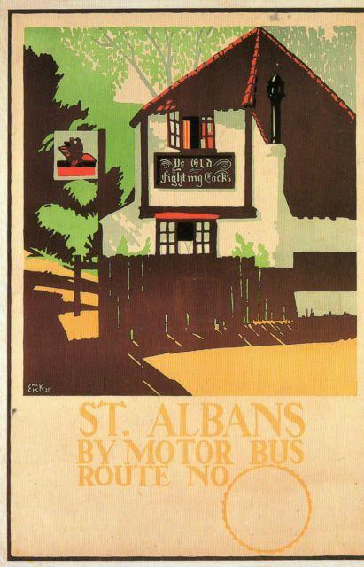 Modern postcard of St Albans Fighting Cocks 1920 poster E McKnight Kauffer LTM | eBay