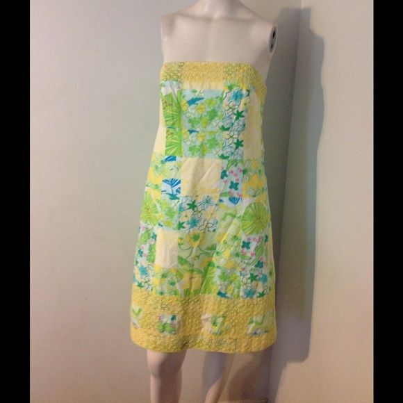 Lilly Pulitzer Gator Patch Dress 🎀SALE🎀 Beautiful Lilly dress! Yellow and green floral patchwork with gators and frogs and lace trim. 100% cotton and lined. Size 10 Nice condition. Lilly Pulitzer Dresses Strapless