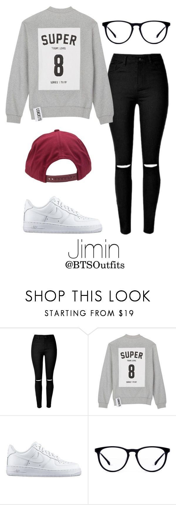 Imitating Him at a Fansign: Jimin by btsoutfits on Polyvore featuring Studio Concrete, NIKE and Brixton