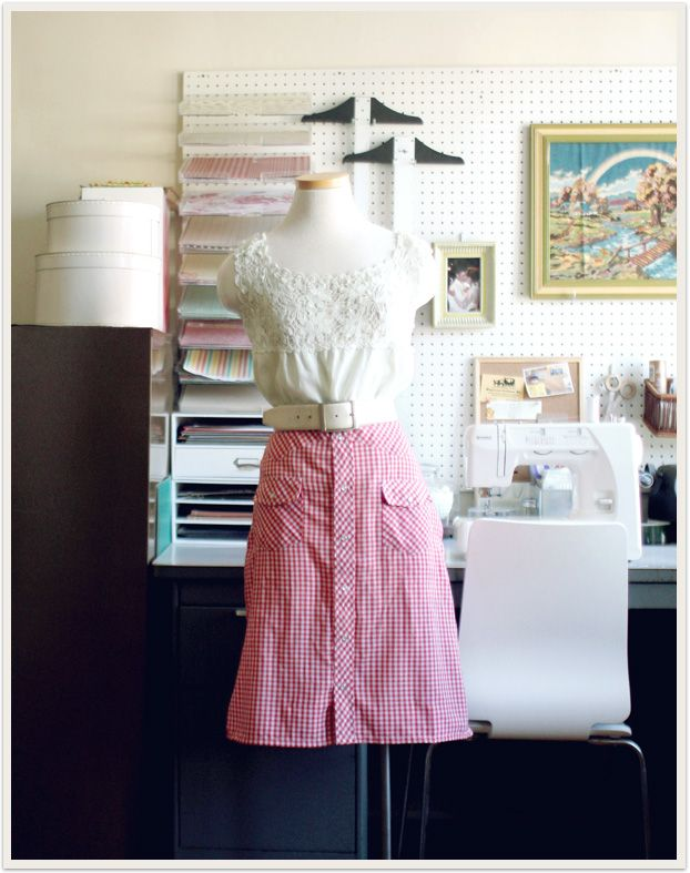 western shirt turned simple a-line skirt with a feminine top & wide white leather belt