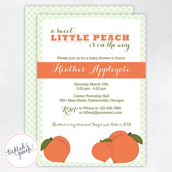 little peach baby shower invitation by tickled peach studio peach